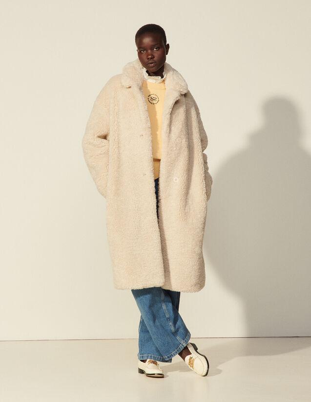Long Faux Fur Coat : Coats color Ecru