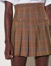 Checked Shorts With Pleats : Skirts & Shorts color Brown