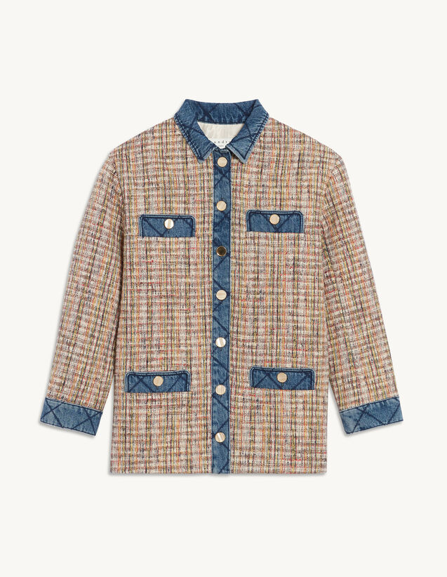 Tweed Jacket With Denim Inserts : Blazer & Jacket color Multi-Color