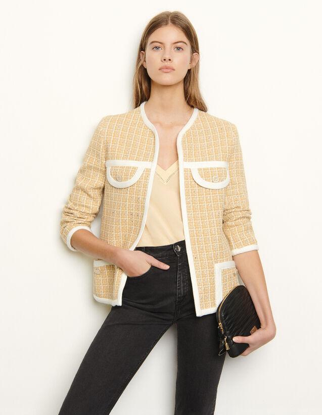 Tailored Jacket In Fancy Tweed : Blazer & Jacket color Beige