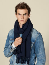 Wool And Cashmere Scarf : Scarf color Navy Blue