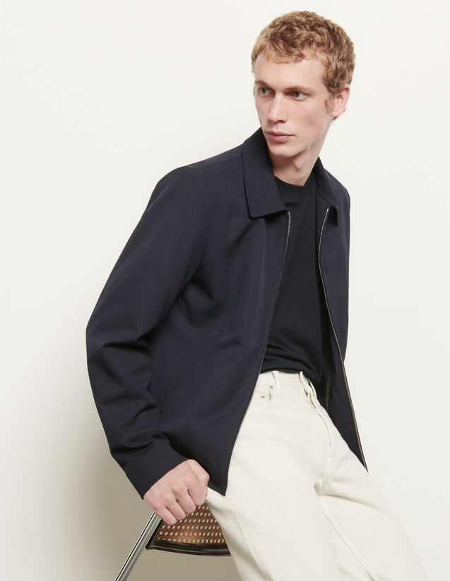 Wool Jacket With Shirt Collar : Trench coats & Coats color Navy Blue