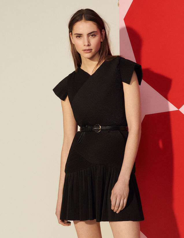 Short Pleated Dress : Dresses color Black