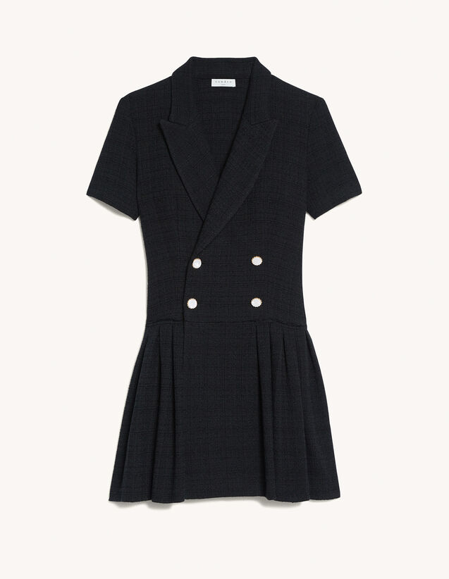 Short Tweed Coat Dress : Dresses color Black