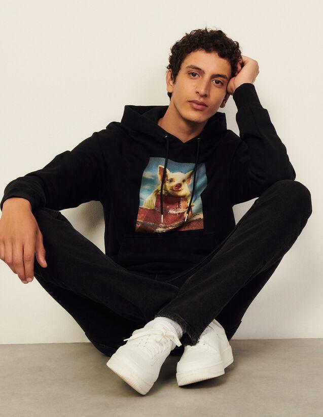 Cotton Hoodie With Artwork : Sweatshirts color Black