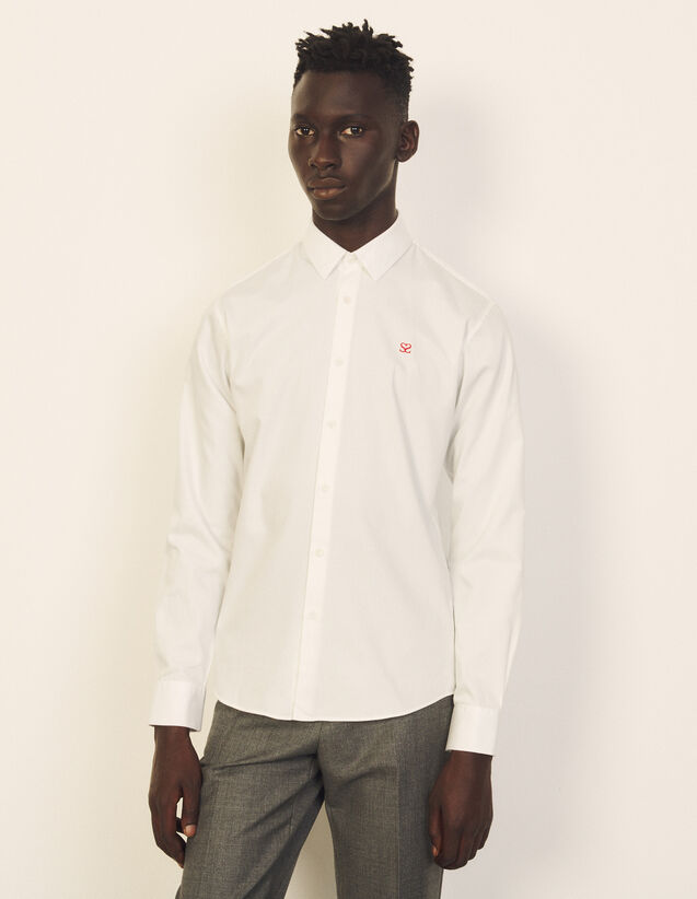 Cotton Shirt With Embroidery : Shirts color white