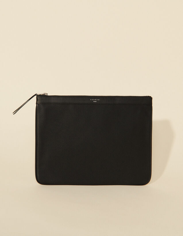 Zipped Pouch : Leather Goods color Black