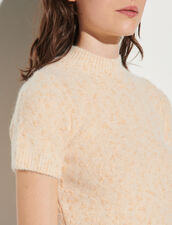 Short Tweed Effect Knitted Sweater : Sweaters & Cardigans color Beige pink