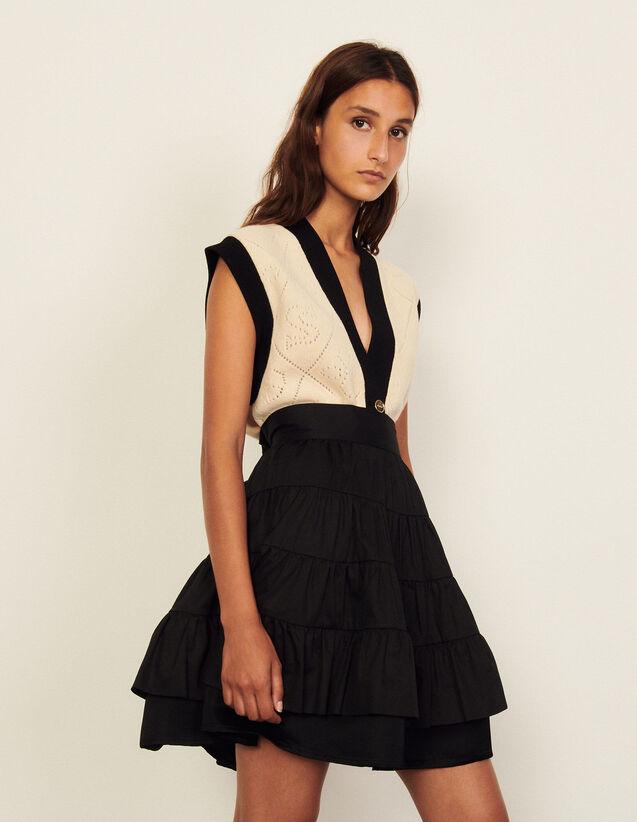 Short Dual-Material Skirt : Skirts & Shorts color Black