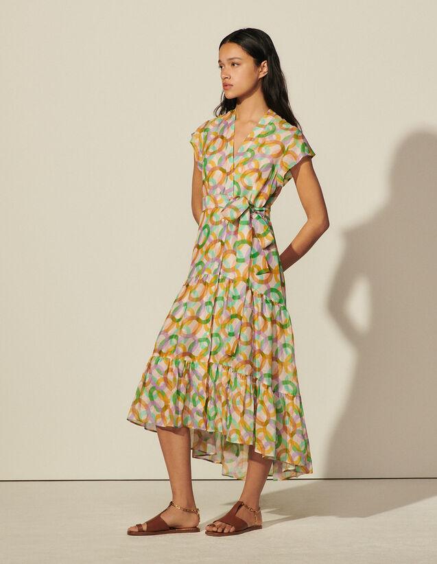 Long Sleeveless Print Dress : 30%off color Green