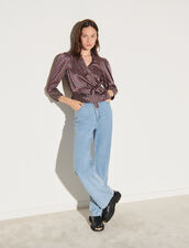Wrapover Top With Print : Tops color Navy / Burgundy