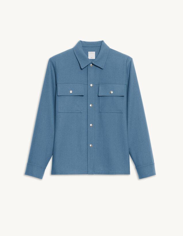 Wool Overshirt : Shirts color Bluish Grey