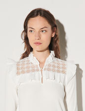 Long-Sleeved T-Shirt In Mixed Materials : T-shirts color white