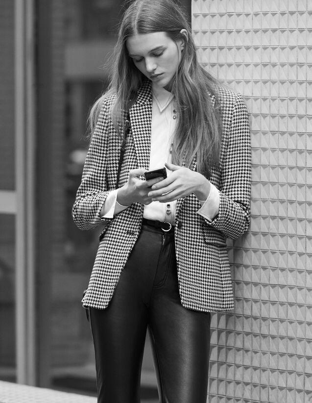 Houndstooth Check Tailored Jacket : Blazer & Jacket color Black