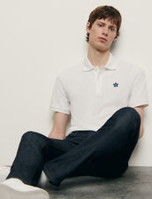 Cotton Polo Shirt With Embroidered Patch : T-shirts & Polo shirts color white