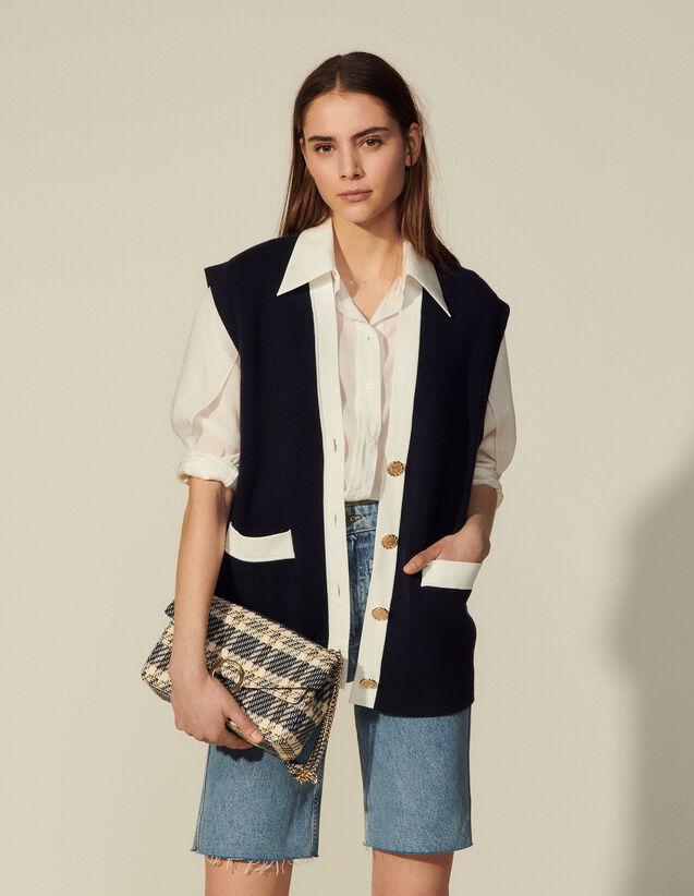Oversized Sleeveless Coatigan : Sweaters & Cardigans color Navy Blue