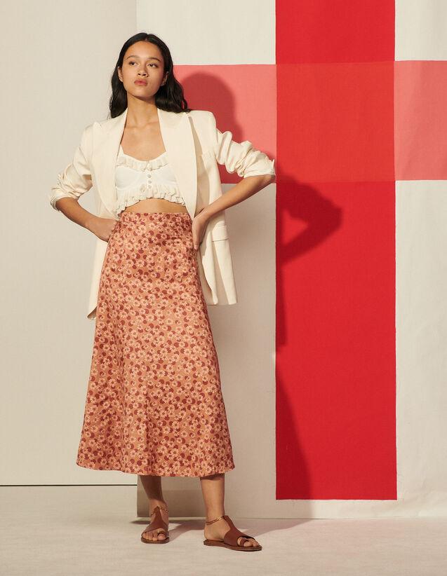 Long Flared Printed Skirt : Skirts & Shorts color Brown