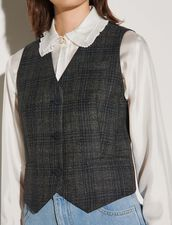 Men'S Checked Waistcoat : Tops color Charcoal Grey