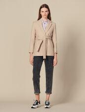 Long Wool Jacket With Belt : Coats color Beige