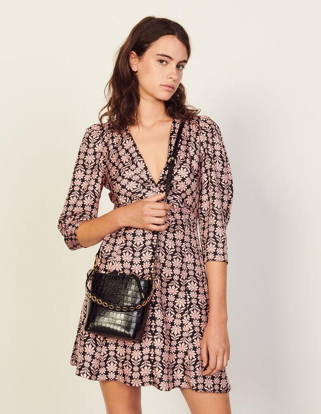 Short Printed Silk Dress : Dresses color Black / Pink