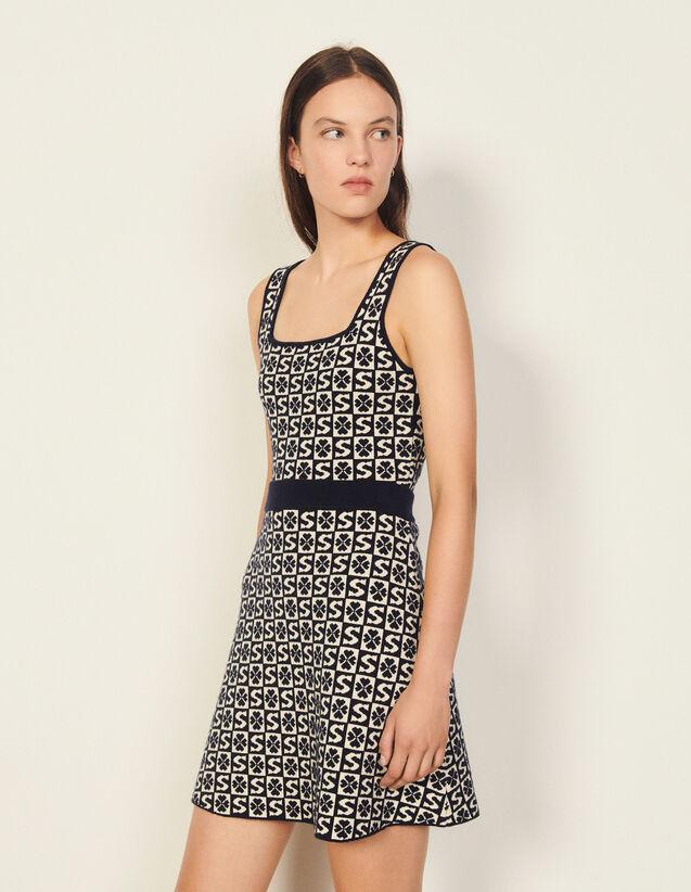 Short Skirt With Jacquard Pattern : Skirts & Shorts color Marine / Blanc