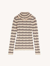 Roll Neck Sweater With Stripes : Sweaters & Cardigans color Beige / Black