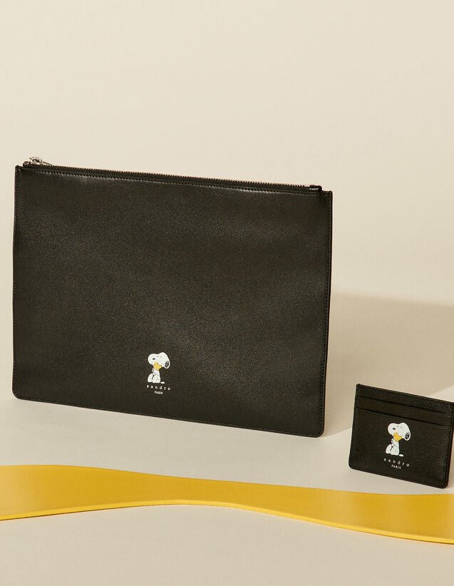 Smooth Leather Snoopy Pouch : Leather Goods color Black