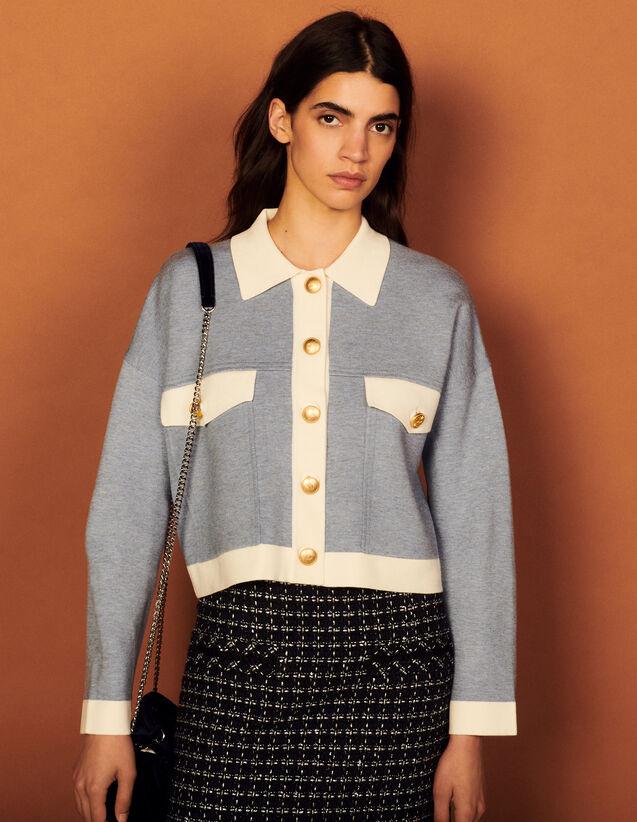 Two-Tone Coatigan : Coats color Sky Blue