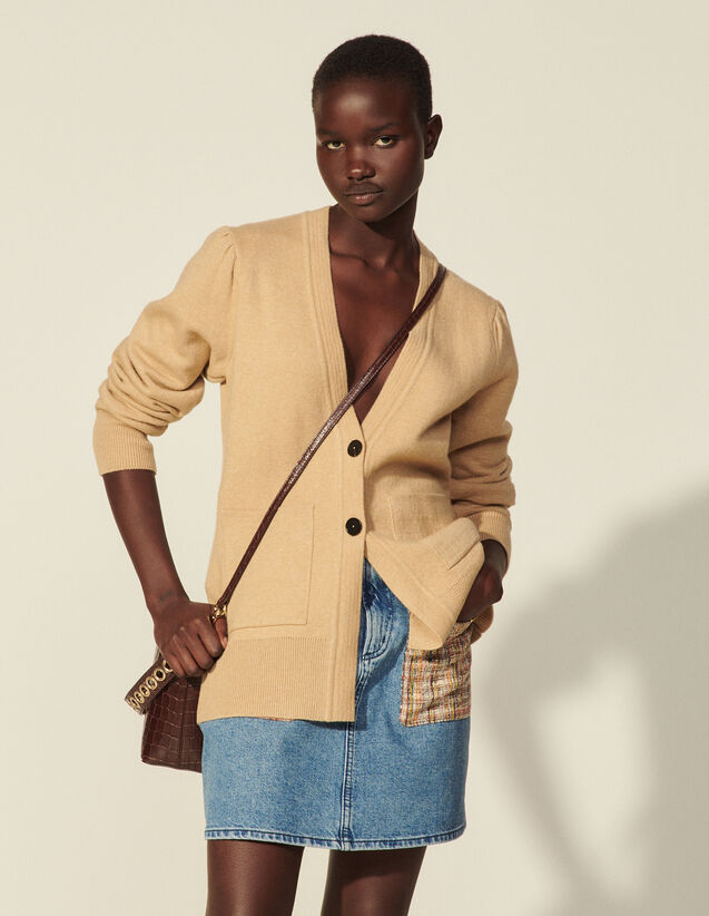 Long Buttoned Cardigan : Sweaters & Cardigans color Beige