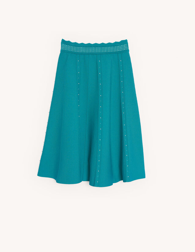 Knit Skirt Embellished With Beads : Skirts & Shorts color Green