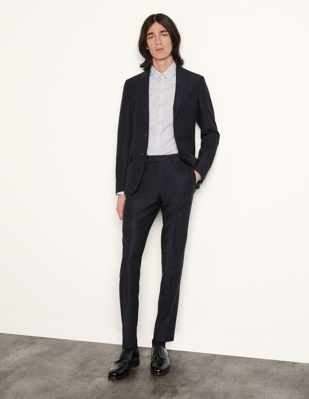 Virgin Wool Suit Trousers : Pants & Shorts color Navy Blue