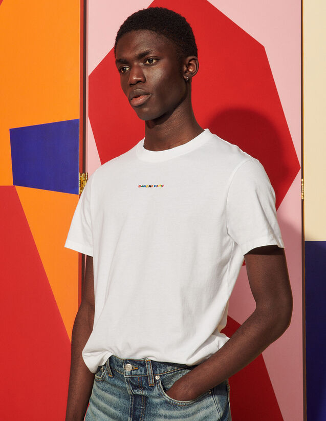 T-Shirt With Multicoloured Embroidery : T-shirts & Polo shirts color white