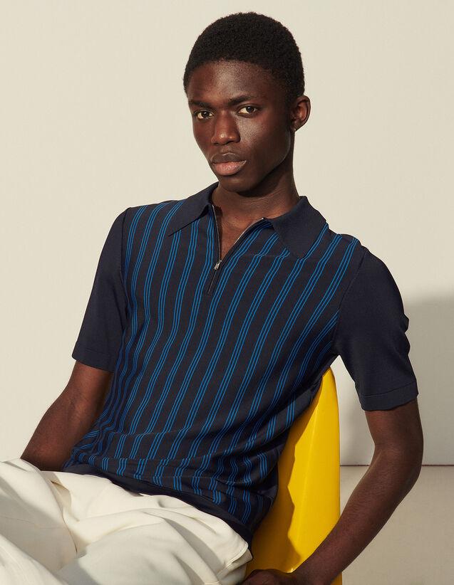 Striped Viscose Polo Shirt : T-shirts & Polo shirts color Navy Blue