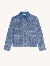 Fancy Knit Cropped Jacket : Blazer & Jacket color Navy / Ecru