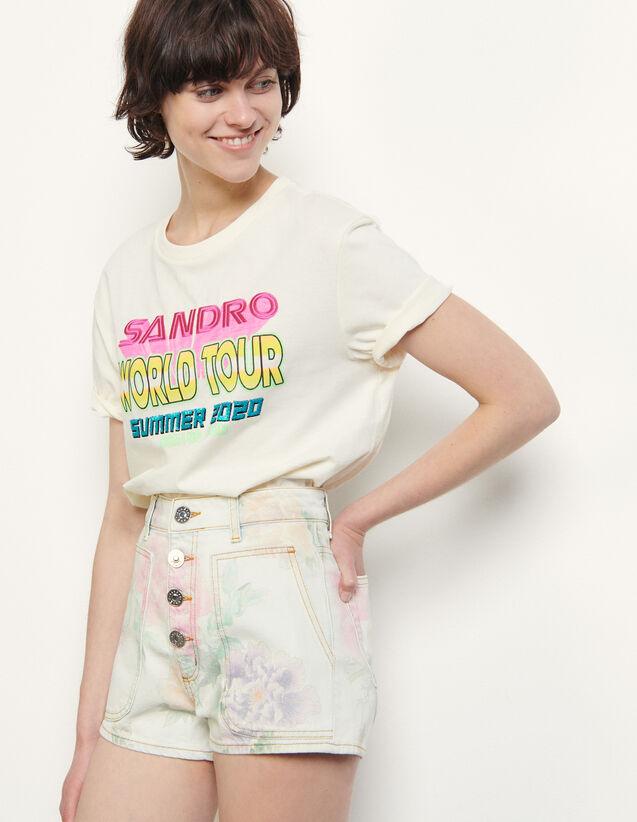 Printed Denim Shorts : Skirts & Shorts color Multi-Color
