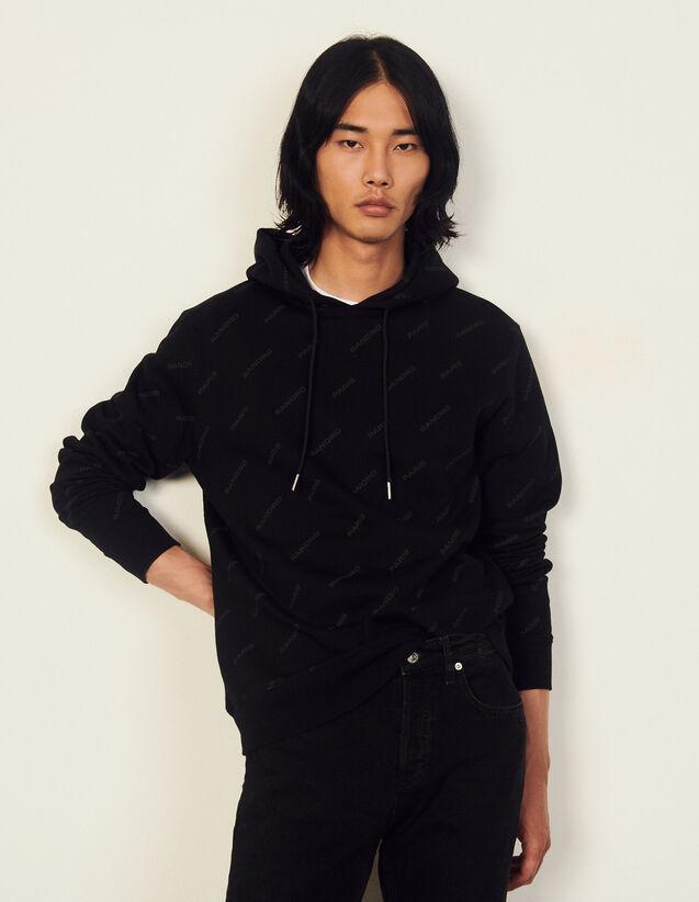 Cotton Hoodie With Sandro Print : Sweatshirts color Black