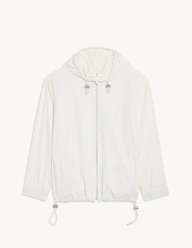 Water-Repellent Jacket With Hood : Trench coats & Coats color white