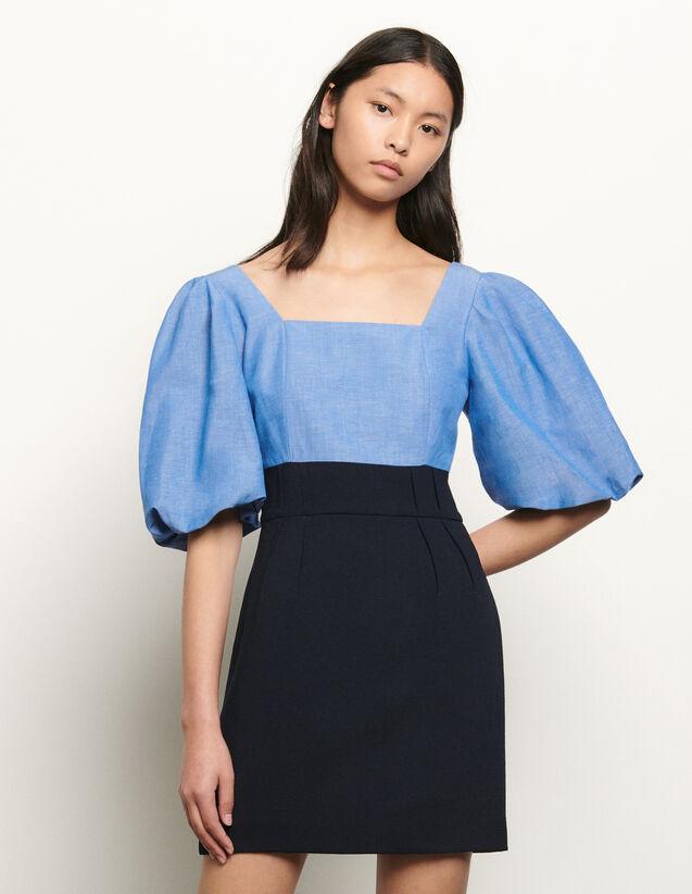 Dual Material Dress With Square Neckline : Dresses color Blue