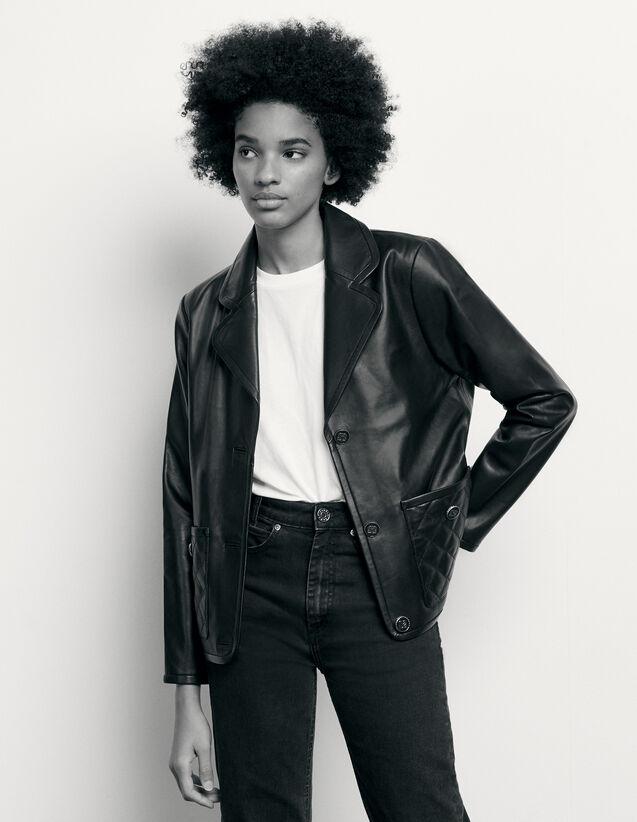 Leather Tailored Jacket : Blazer & Jacket color Black