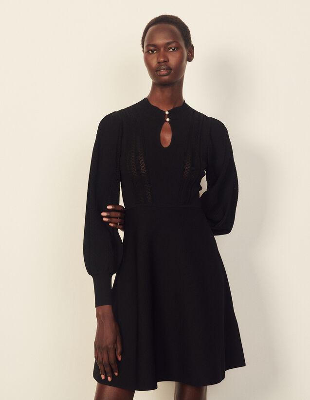 Pointelle Knit Midi Dress : Dresses color Black