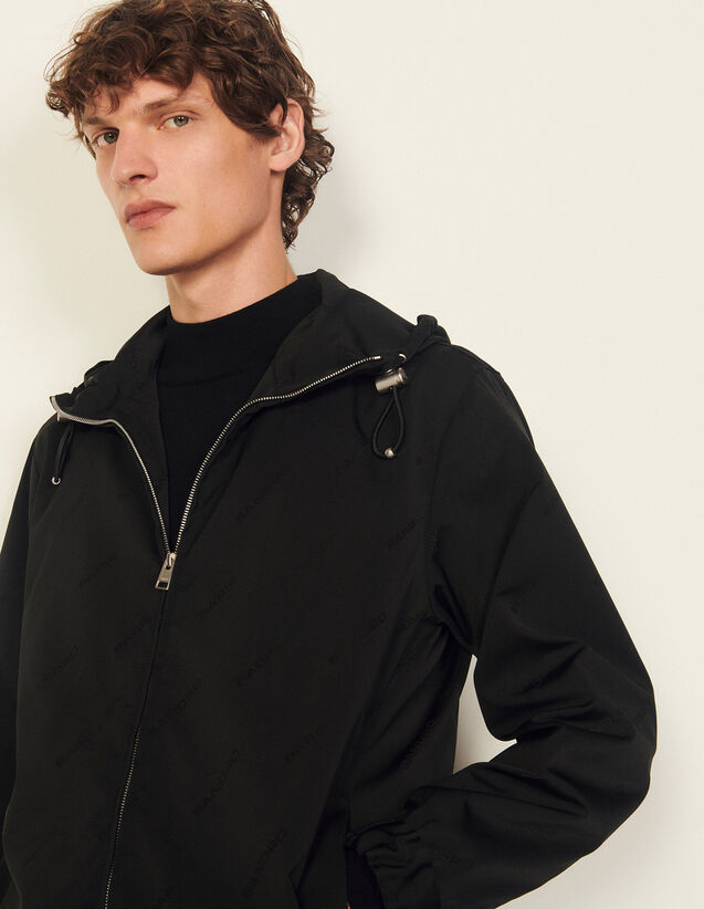 Technical Jacket With Sandro Jacquard : Trench coats & Coats color Black