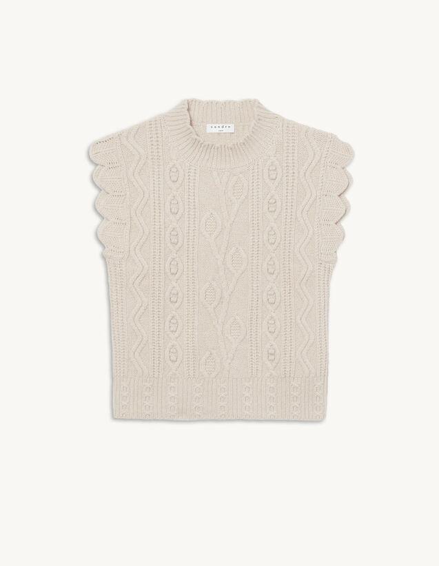 Sleeveless Fancy Knit Sweater : Sweaters & Cardigans color Beige