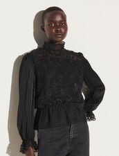 Dual Material Top With Peplum : Tops color Black