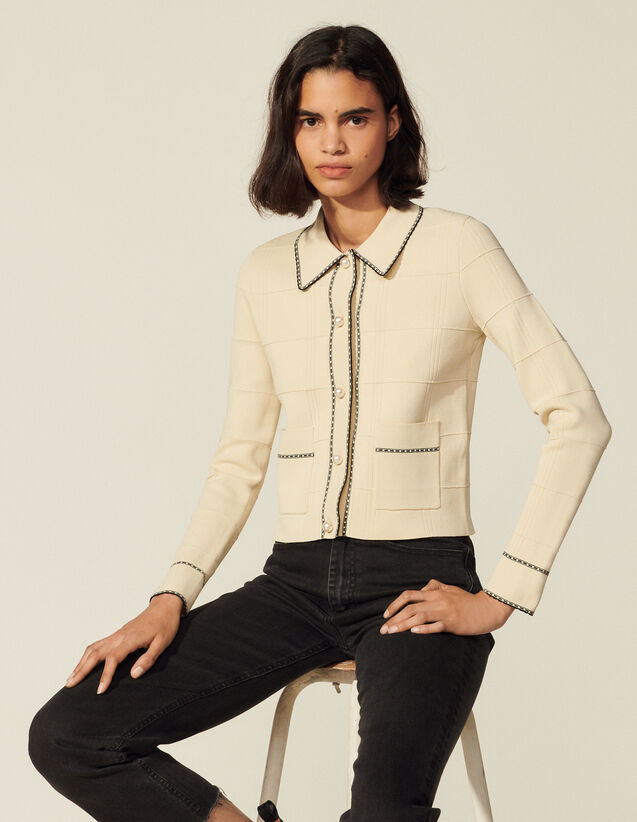 Shirt-Style Knitted Cardigan : Sweaters & Cardigans color Light Beige