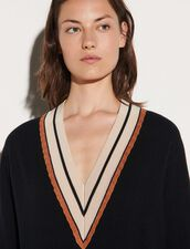 Sweater With Striped Neckline : Sweaters & Cardigans color Black