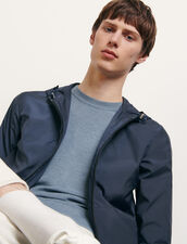 Technical Jacket With Hood : Trench coats & Coats color Navy Blue