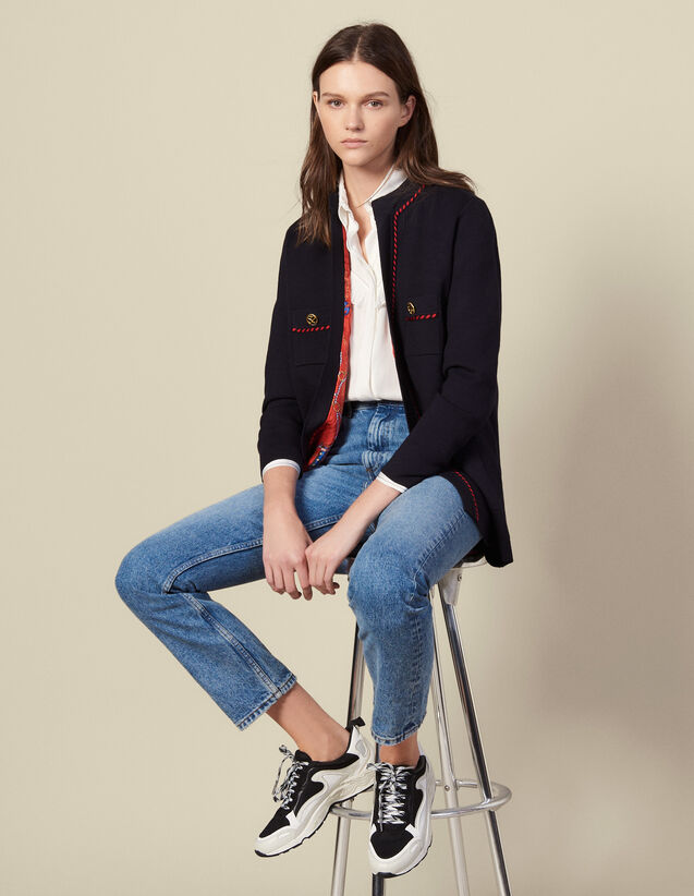 Straight Cardi Coat With Printed Lining : Cardigans color Navy Blue