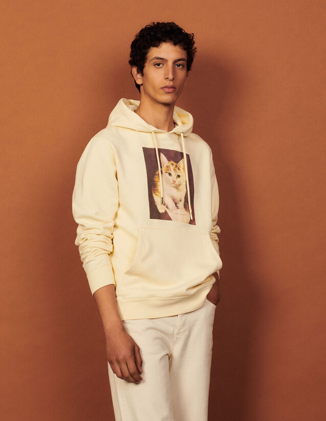 Cotton Hoodie With Artwork : Sweatshirts color Beige