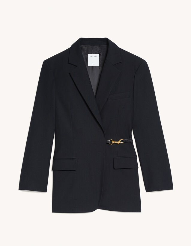Double-Breasted Jacket With Snap Hook : Blazer & Jacket color Black