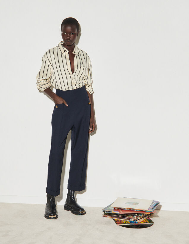 Wide-Leg Trousers : Pants color Navy Blue